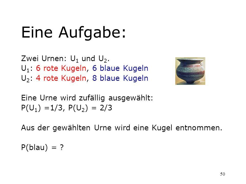 Eine Aufgabe: Zwei Urnen: U1 und U2. U1: 6 rote Kugeln, 6 blaue Kugeln