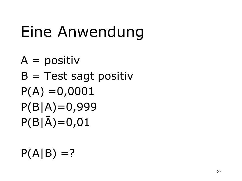 Eine Anwendung A = positiv B = Test sagt positiv P(A) =0,0001