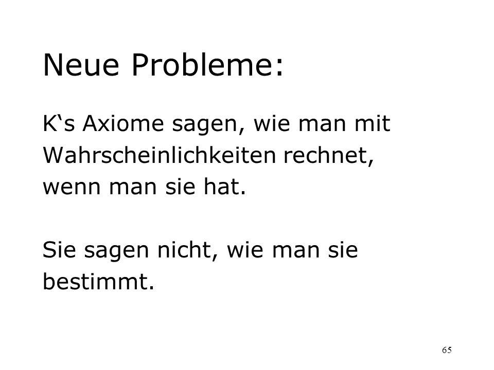 Neue Probleme: K's Axiome sagen, wie man mit