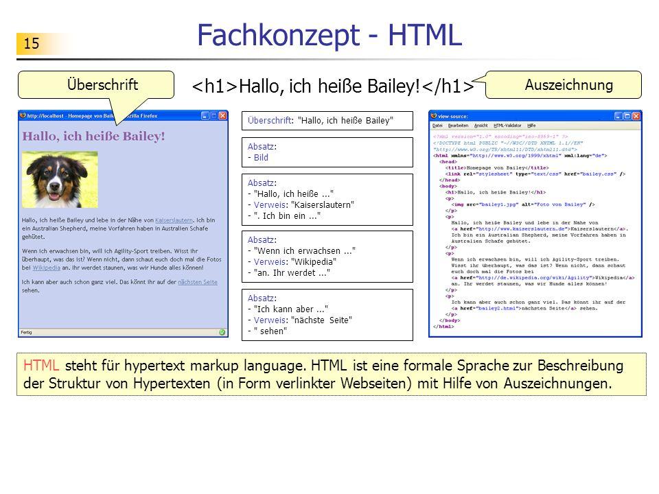 Fachkonzept - HTML <h1>Hallo, ich heiße Bailey!</h1>