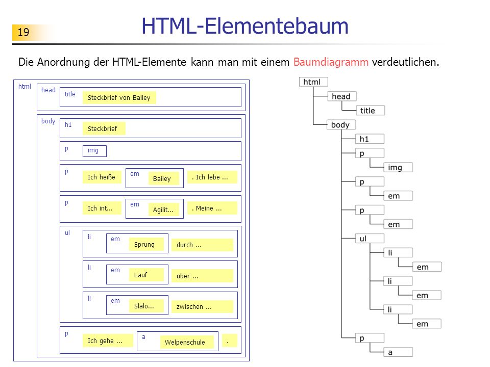 HTML-Elementebaum Die Anordnung der HTML-Elemente kann man mit einem Baumdiagramm verdeutlichen. html.