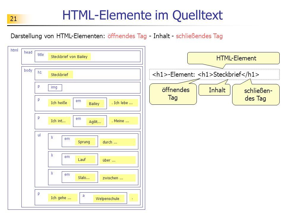 HTML-Elemente im Quelltext