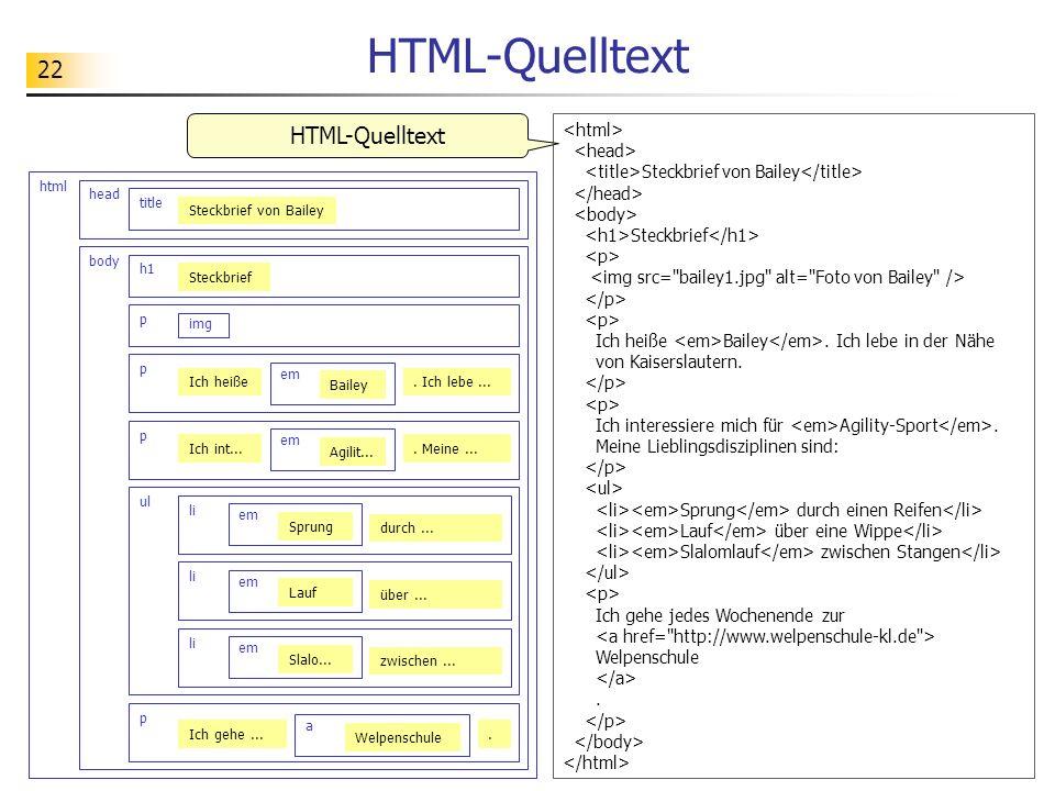 HTML-Quelltext HTML-Quelltext <html> <head>