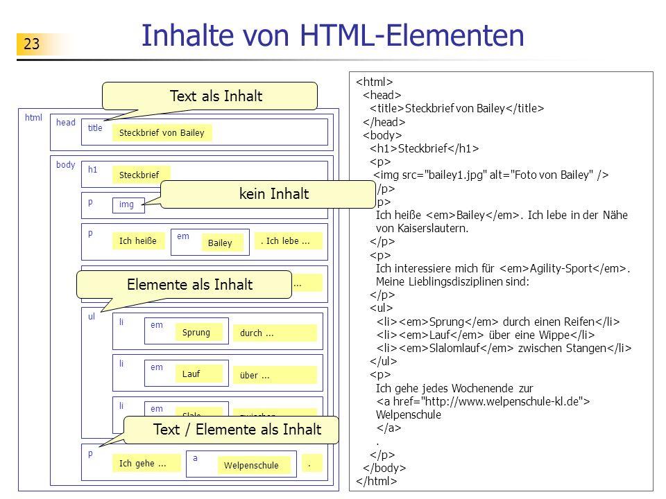 Inhalte von HTML-Elementen
