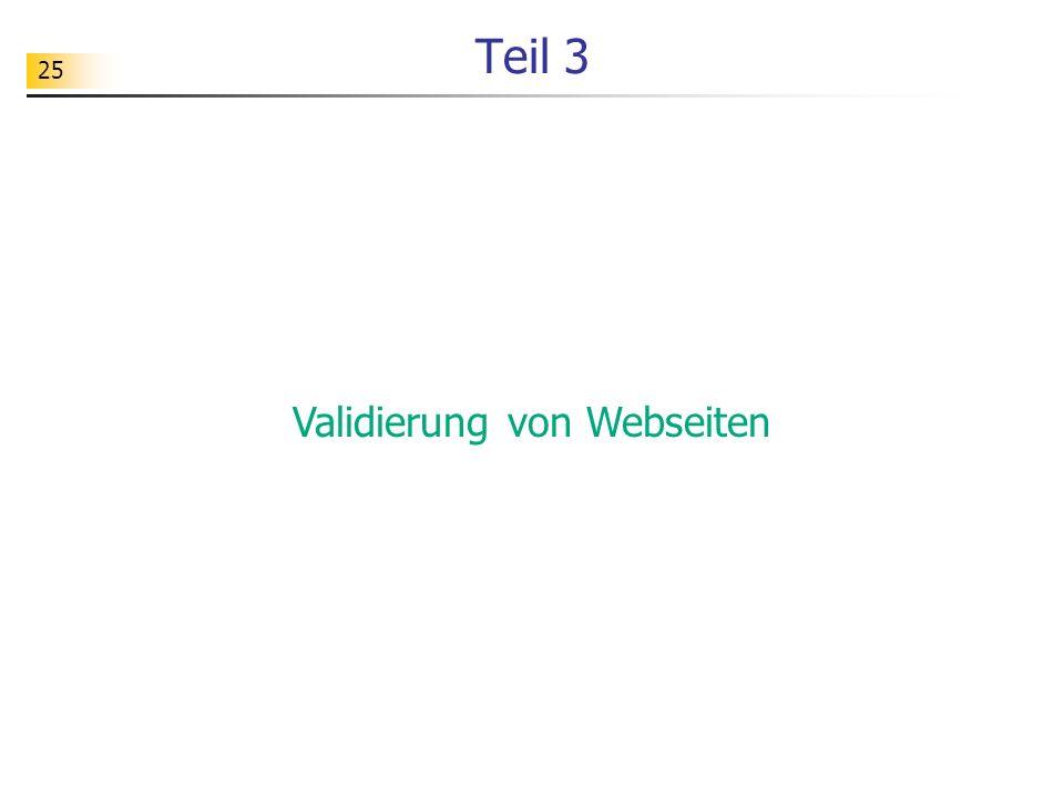 Validierung von Webseiten