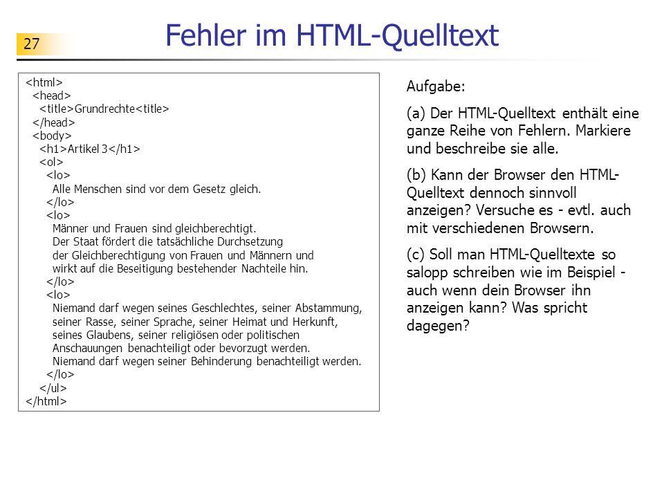 Fehler im HTML-Quelltext