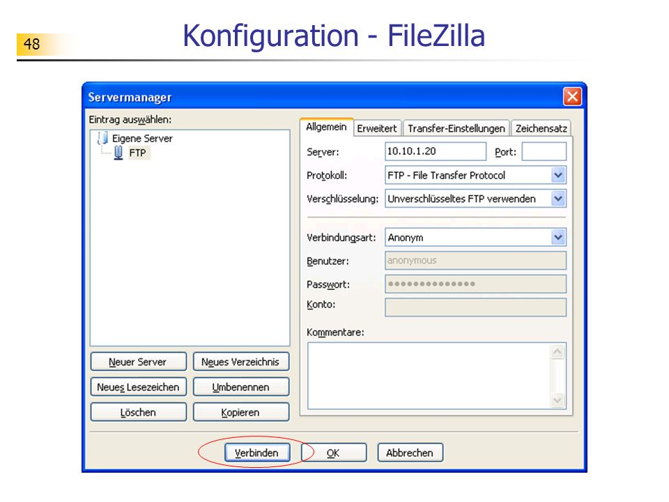 Konfiguration - FileZilla