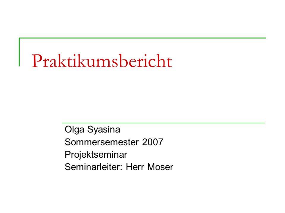 Praktikumsbericht Olga Syasina Sommersemester 2007 Projektseminar