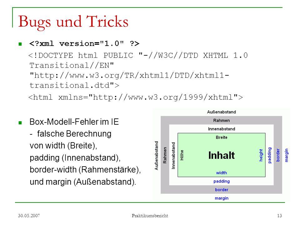 Bugs und Tricks < xml version= 1.0 >