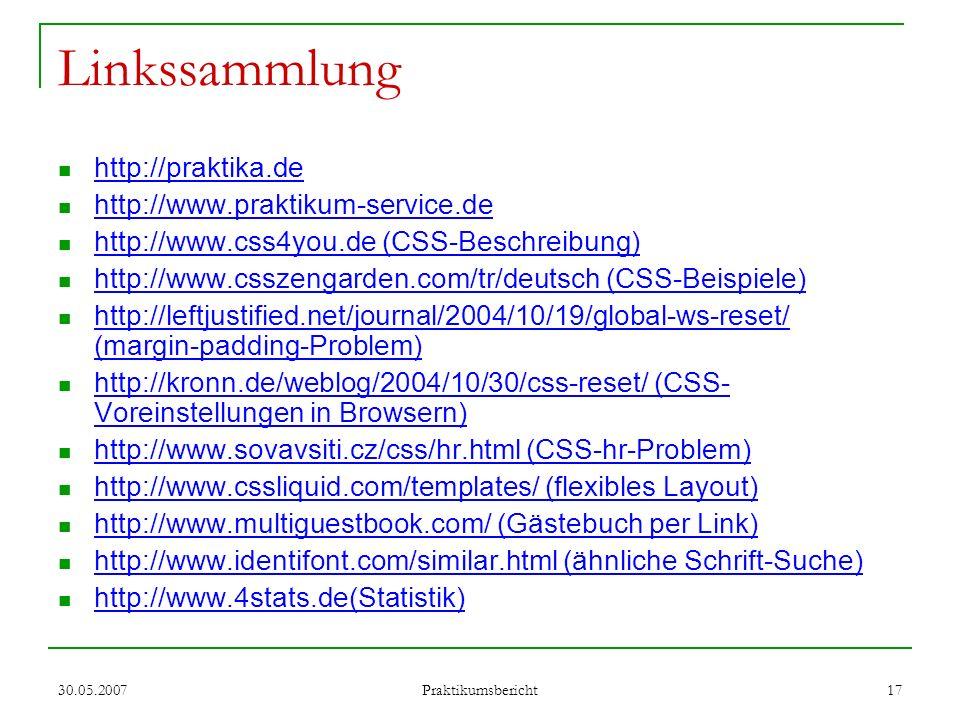 Linkssammlung http://praktika.de http://www.praktikum-service.de