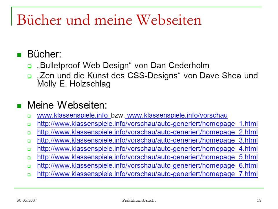 Bücher und meine Webseiten