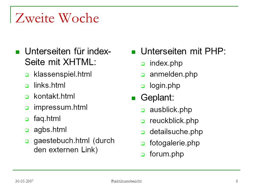 Zweite Woche Unterseiten für index-Seite mit XHTML: