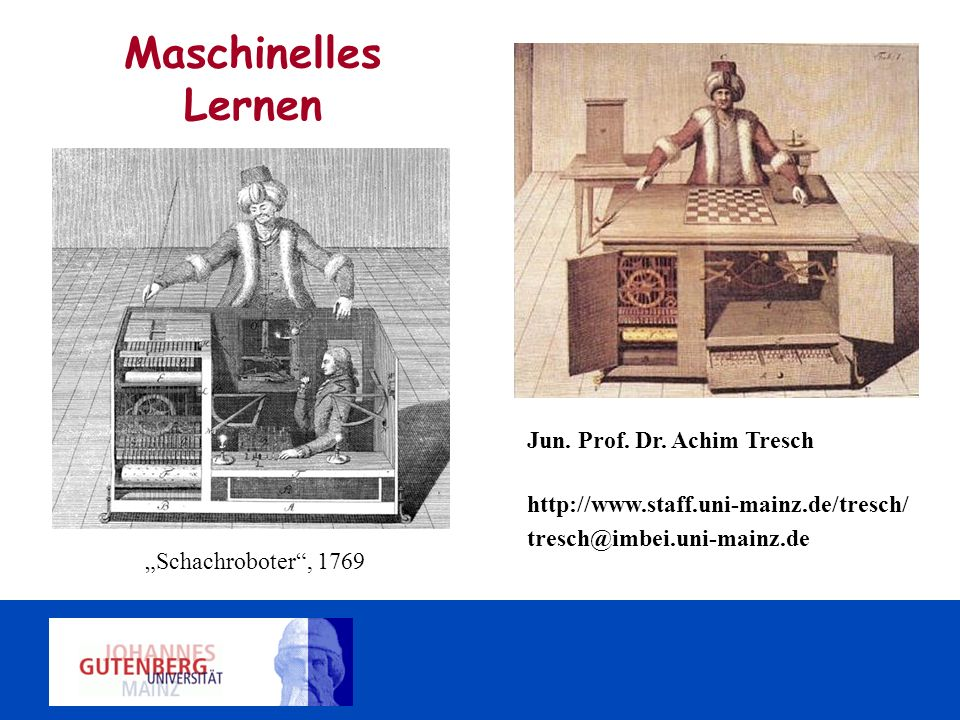 Maschinelles Lernen Jun. Prof. Dr. Achim Tresch