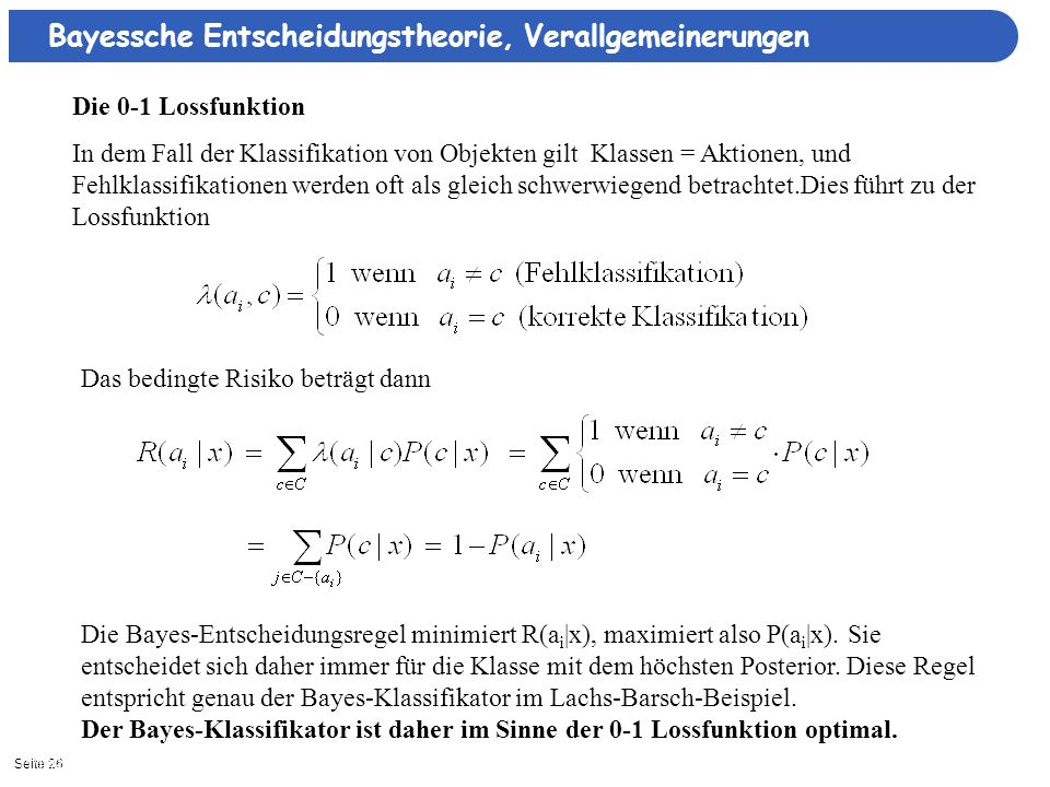 Bayessche Entscheidungstheorie, Verallgemeinerungen