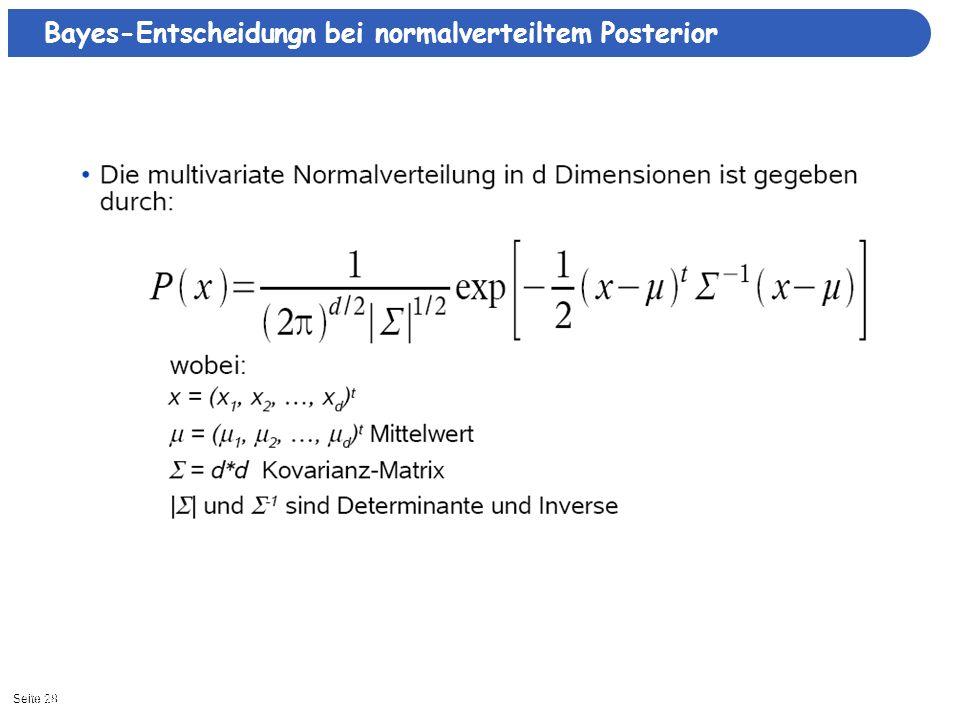 Bayes-Entscheidungn bei normalverteiltem Posterior