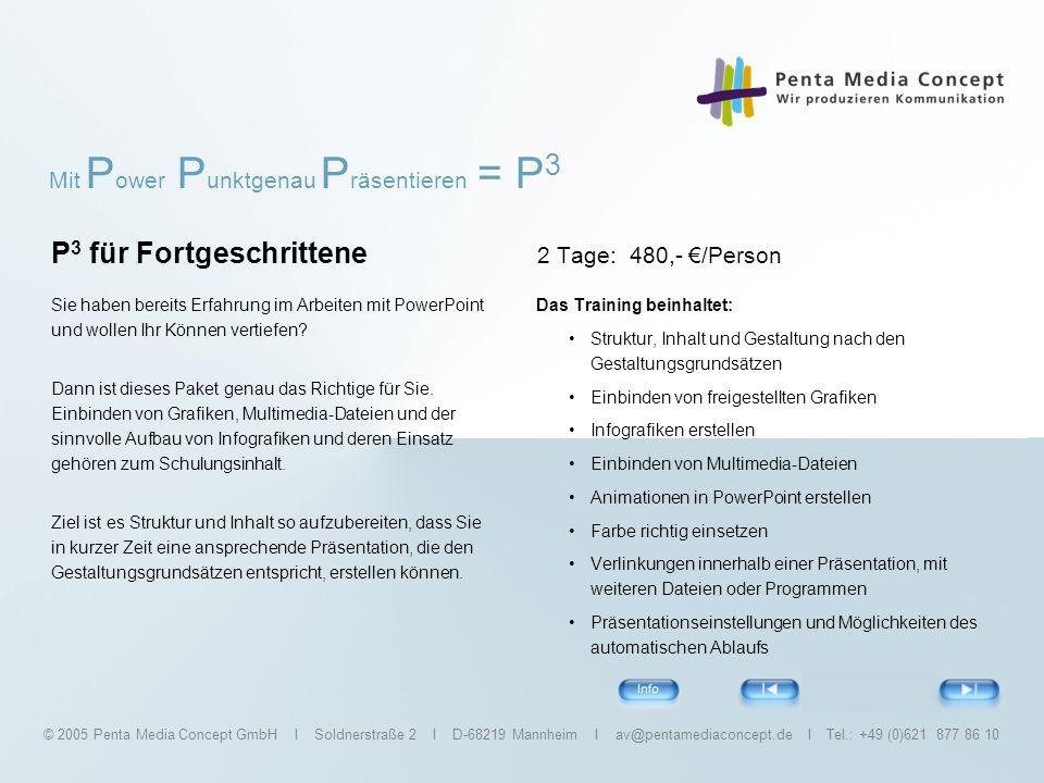 P3 für Fortgeschrittene 2 Tage: 480,- €/Person