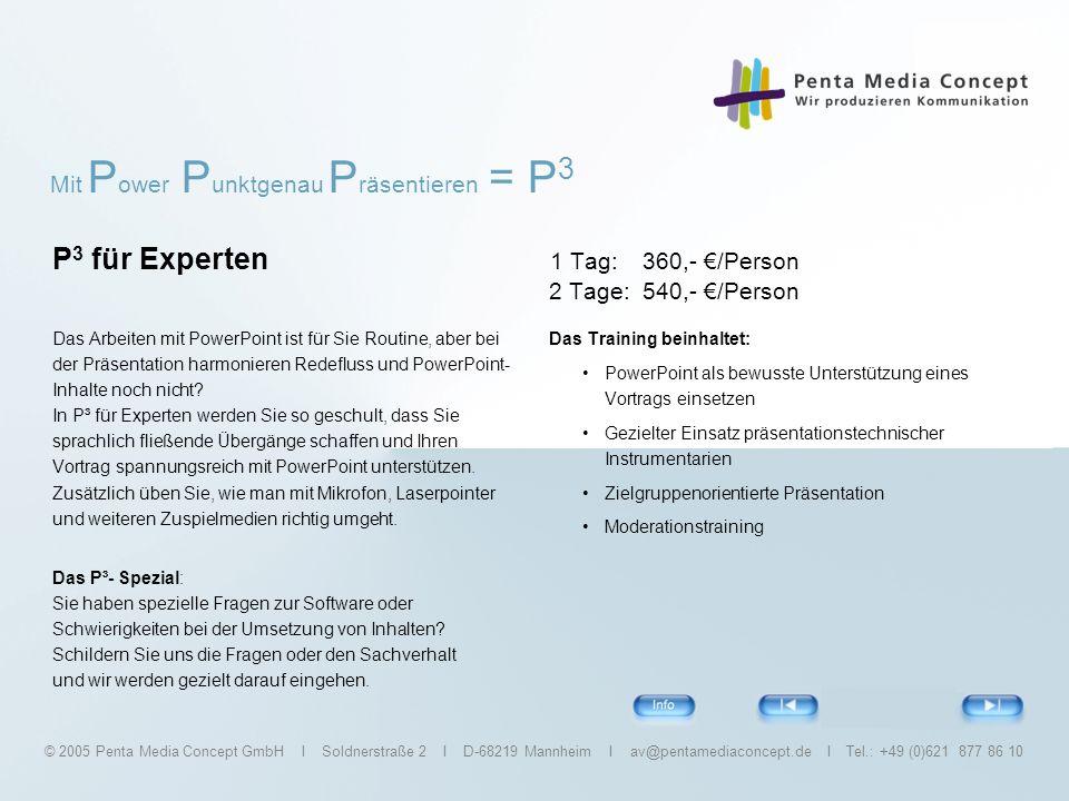 P3 für Experten 1 Tag: 360,- €/Person 2 Tage: 540,- €/Person