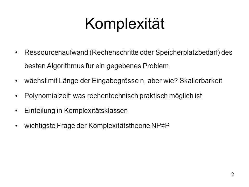Komplexität Ressourcenaufwand (Rechenschritte oder Speicherplatzbedarf) des besten Algorithmus für ein gegebenes Problem.