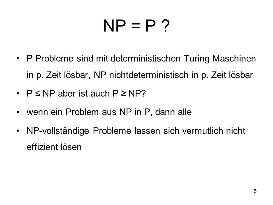 NP = P P Probleme sind mit deterministischen Turing Maschinen in p. Zeit lösbar, NP nichtdeterministisch in p. Zeit lösbar.