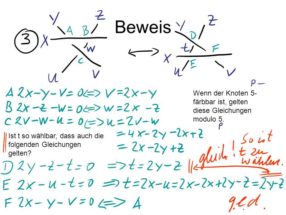 Beweis Wenn der Knoten 5-färbbar ist, gelten diese Gleichungen modulo 5.