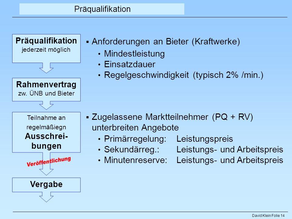 Veröffentlichung Anforderungen an Bieter (Kraftwerke) Mindestleistung