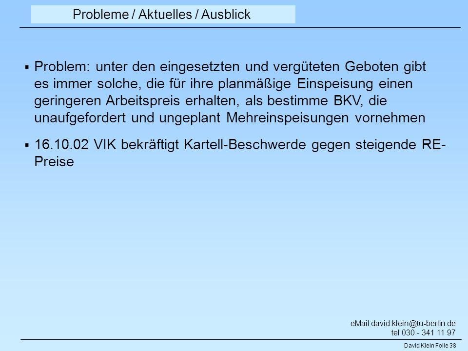 Probleme / Aktuelles / Ausblick