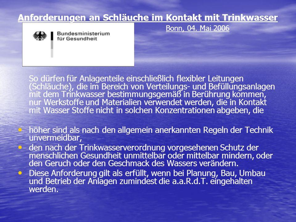 Anforderungen an Schläuche im Kontakt mit Trinkwasser. Bonn, 04