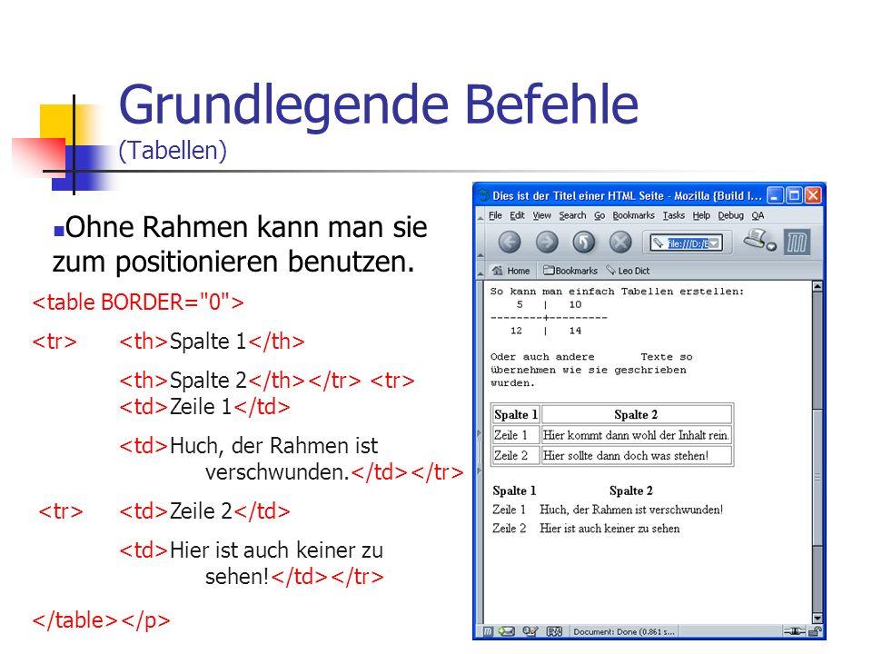 Grundlegende Befehle (Tabellen)