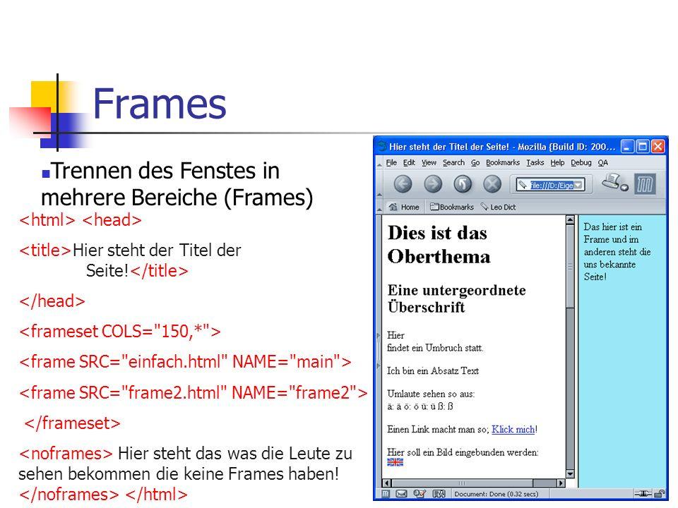 Frames Trennen des Fenstes in mehrere Bereiche (Frames)