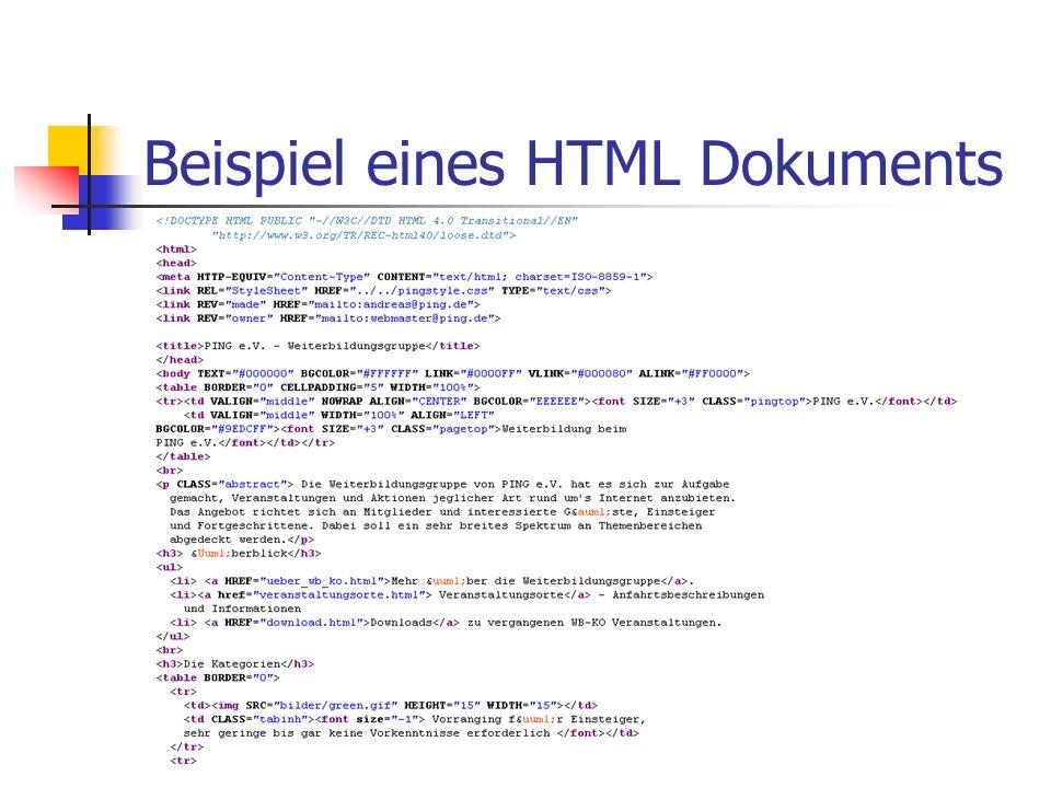 Beispiel eines HTML Dokuments