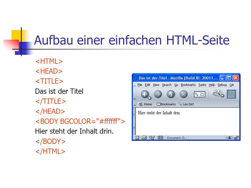 Aufbau einer einfachen HTML-Seite