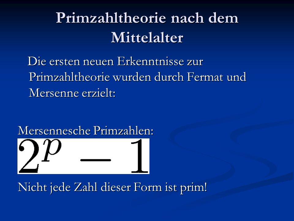 Primzahltheorie nach dem Mittelalter