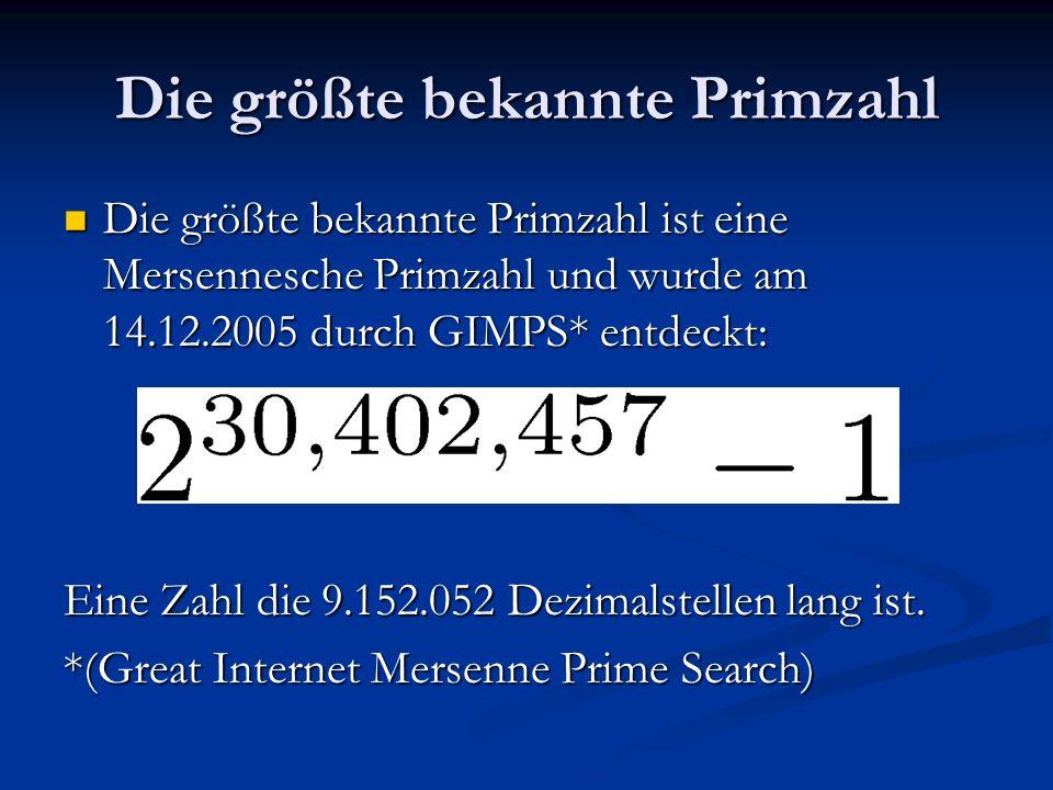 Die größte bekannte Primzahl