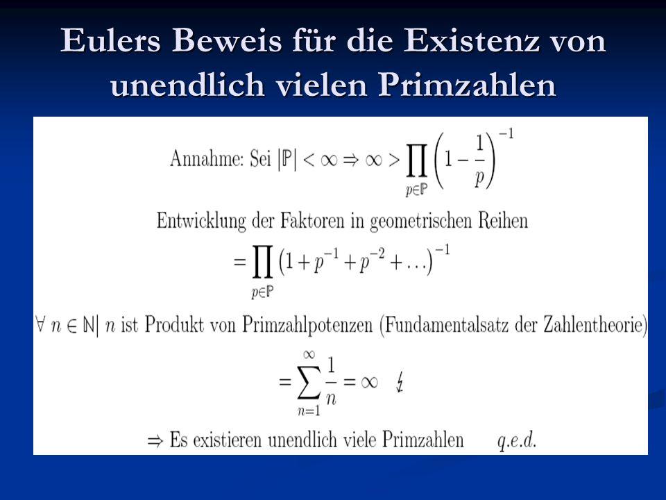 Eulers Beweis für die Existenz von unendlich vielen Primzahlen