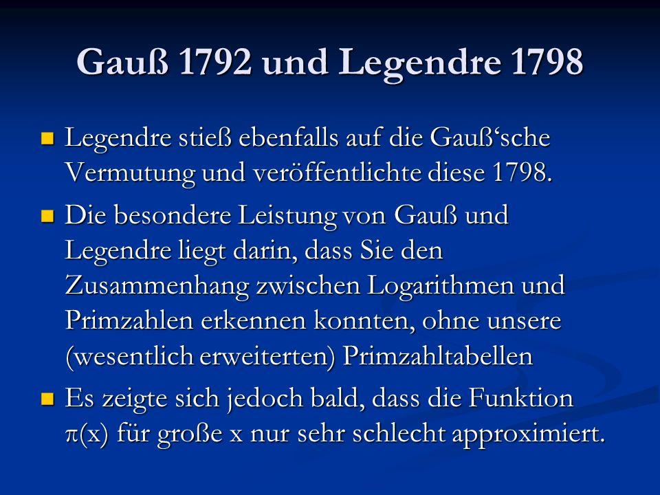Gauß 1792 und Legendre 1798 Legendre stieß ebenfalls auf die Gauß'sche Vermutung und veröffentlichte diese 1798.