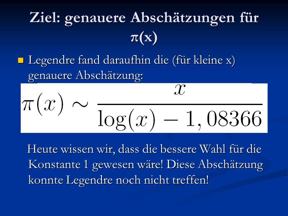 Ziel: genauere Abschätzungen für π(x)