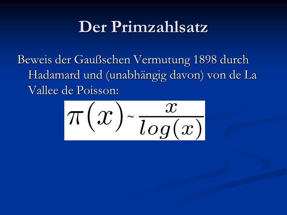 Der Primzahlsatz Beweis der Gaußschen Vermutung 1898 durch Hadamard und (unabhängig davon) von de La Vallee de Poisson: