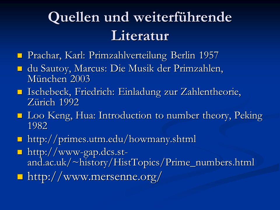 Quellen und weiterführende Literatur