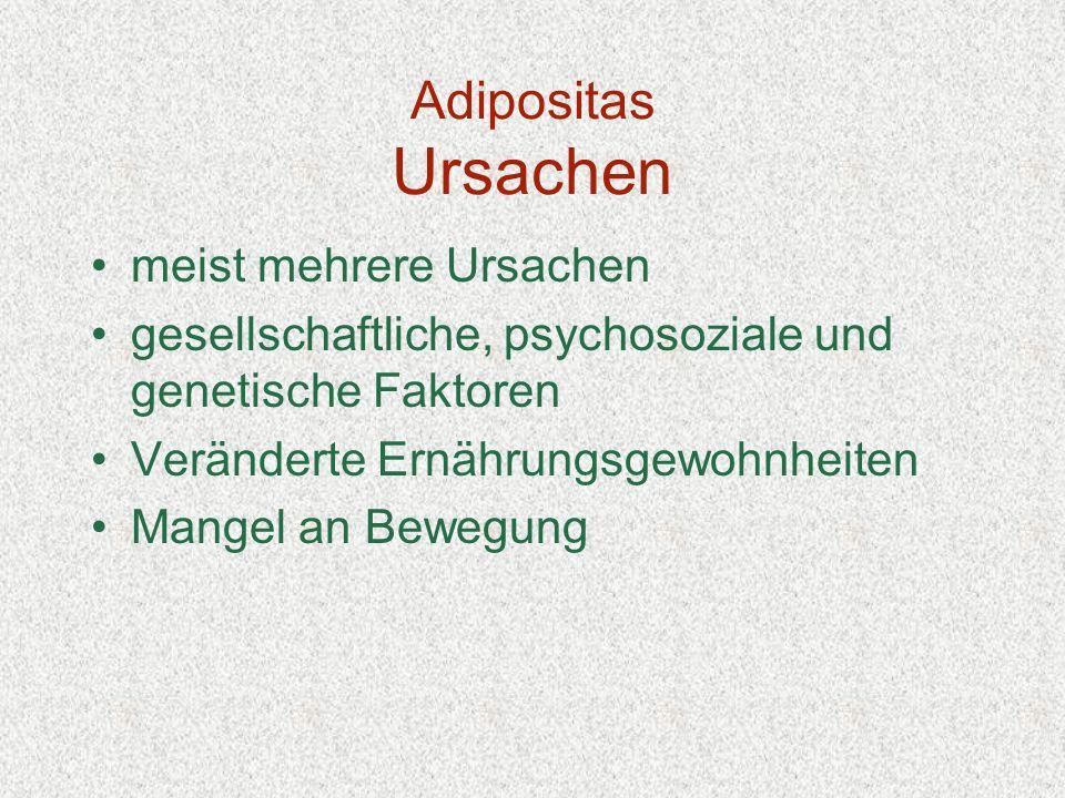 Adipositas Ursachen meist mehrere Ursachen