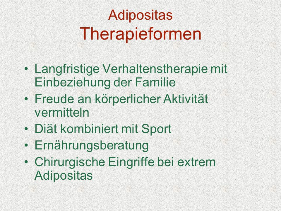 Adipositas Therapieformen