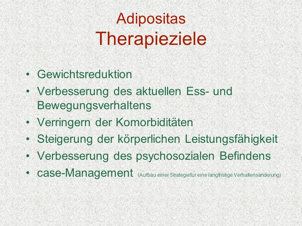 Adipositas Therapieziele
