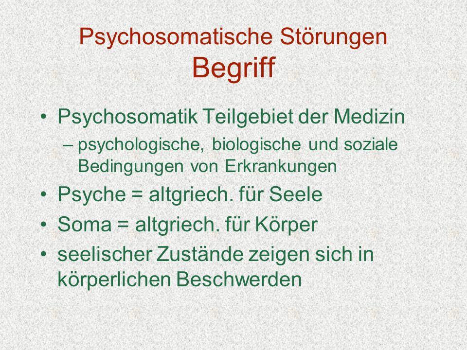 Psychosomatische Störungen Begriff