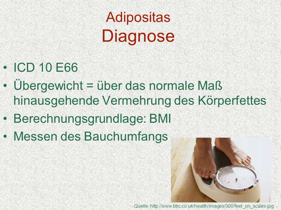 Adipositas Diagnose ICD 10 E66