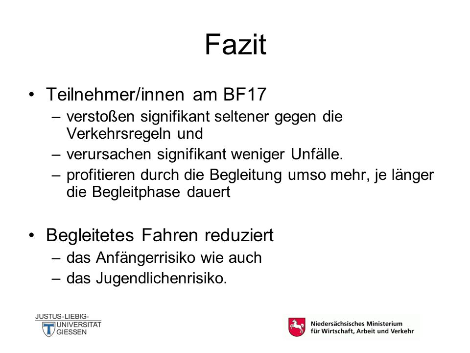 Fazit Teilnehmer/innen am BF17 Begleitetes Fahren reduziert
