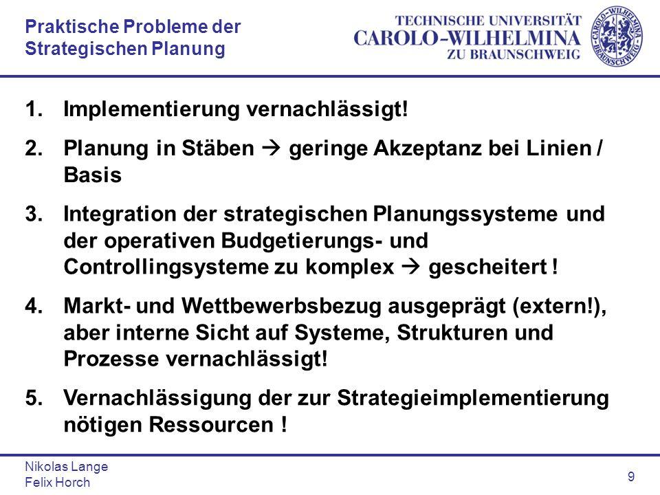 Praktische Probleme der Strategischen Planung