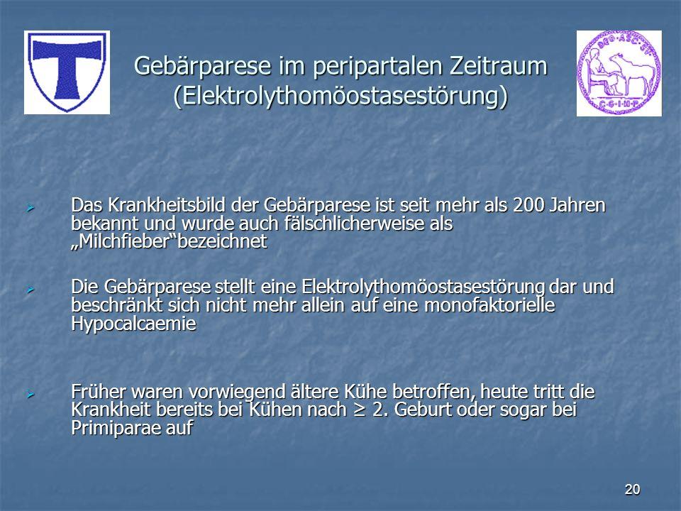 Gebärparese im peripartalen Zeitraum (Elektrolythomöostasestörung)