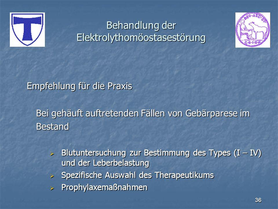 Behandlung der Elektrolythomöostasestörung