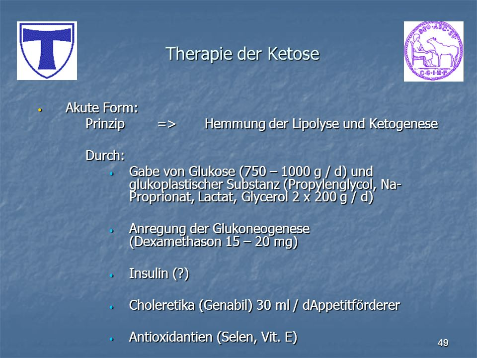 Therapie der Ketose Akute Form: