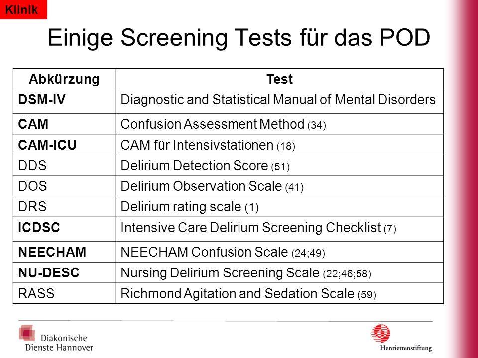 Einige Screening Tests für das POD