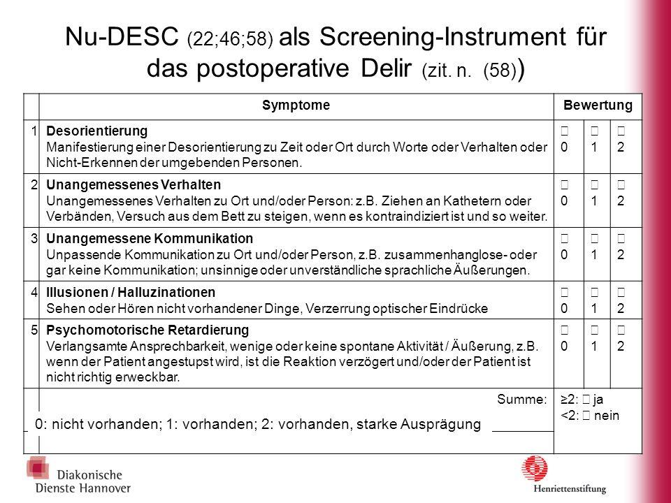 Nu-DESC (22;46;58) als Screening-Instrument für das postoperative Delir (zit. n. (58))